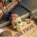 Мода Позолоченный Хрустальный Череп Скелета Bowknot Бисером Кулон, Ожерелье.